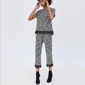 NWT Zara black white tweed cropped fray pants